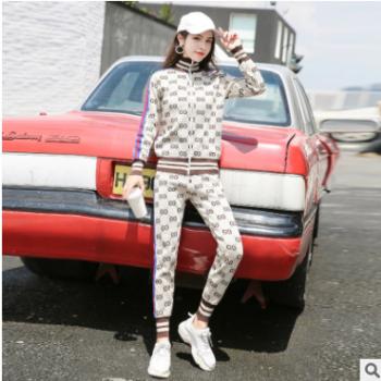 2019春季新款女装时尚休闲套装旅游跑步运动服长袖外套长裤两件套