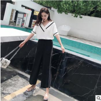 实拍2019夏季女装新款时尚百搭气质套装V领上衣阔腿裤两件套