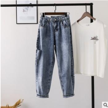 【比正】好质量~2019新款 韩版薄牛仔裤老爹裤割破哈伦裤女装1604