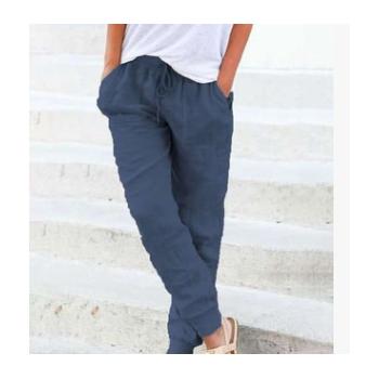 跨境WISH 2019欧美亚马逊爆款纯色棉麻舒适罗纹松紧腰女士长裤
