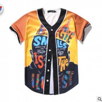 亚马逊新款欧美嘻哈街头皇冠人物印花男式短袖开衫棒球服一件代发