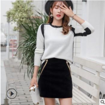 2019早春新款黑色金边半裙女 网红同款显瘦时尚短款A字裙一件代发