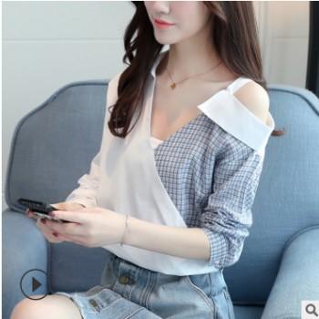 春季女装新款V领拼接撞色格子长袖露肩衬衫女一件代发(送裹胸)