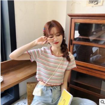 已检测实拍2019韩版夏季新款甜美条纹短袖T恤