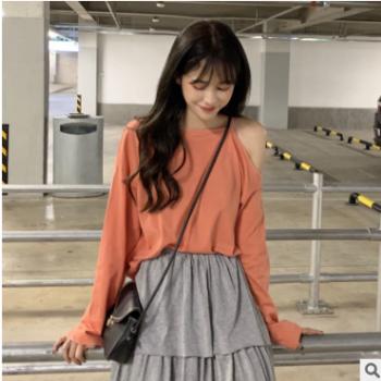 实拍2019韩版chic早春新款新款简单学院风纯色露肩T