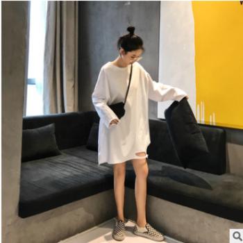 实拍2019韩版早秋季新款下摆破洞打底T恤