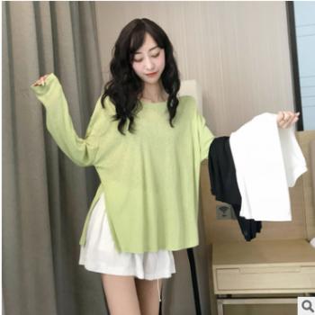 实拍2019韩版夏季新款薄款长袖t恤女不规则开叉上衣防晒T恤