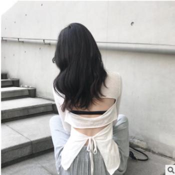 实拍2019韩版早秋季新款露背不规则长袖T恤女上衣薄款打底空调衫
