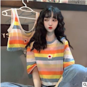 实拍2019韩版夏季新款背心刺绣小花+短袖刺绣小花系列条纹T