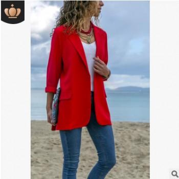 Ebay亚马逊wish爆款欧美拼接修身纯色长袖西装新款现货