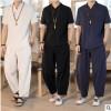 亚麻短袖男t恤套装夏季中国风宽松V领半袖上衣棉麻裤子两件套男装