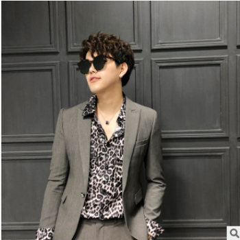 新款时尚潮流夜店休闲西装两件套男韩版修身套装男CXTZ321#