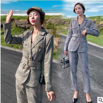 2019秋款舒适收腰西装格子两件套修身显瘦气质优雅百搭潮流