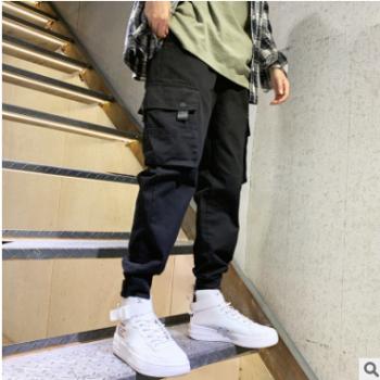 2019春秋季潮牌多口袋工装裤男宽松的裤子男士哈伦裤小脚休闲裤子