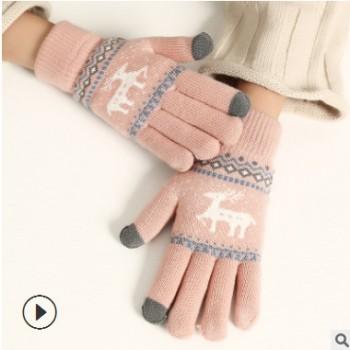 骑行全指可触屏手套 冬季户外男女运动毛线分指保暖针织手套批发