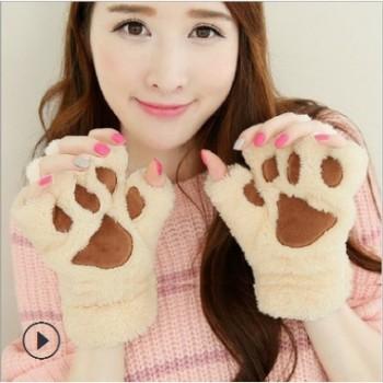 秋冬季可爱熊掌毛绒绒女士半指手套挂脖保暖手套男女学生猫爪手套