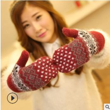 新款秋冬季手套 女士双层加绒加厚保暖针织包指外贸手套 全指手套