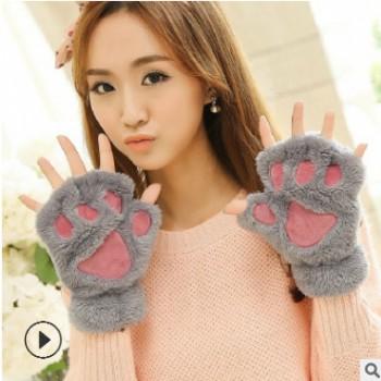 2019猫爪手套女士冬季韩版可爱女生露指加厚保暖熊掌毛绒半指手套