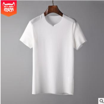 夏季男士短袖韩版简约超薄竖纹T恤透气不闷热宽松上衣 厂家直销
