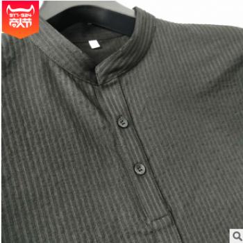 夏季男士速干运动休闲套装天丝棉竖条纹立领短袖九分裤套装 现货