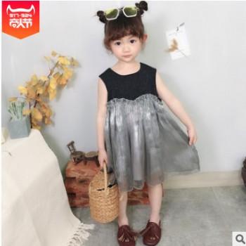 女童连衣裙女宝宝韩版洋气纱裙儿童19夏装新款无袖背心气质拼接裙