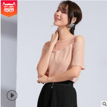 2019夏季新款时尚女装圆领套头透视网纱拼接小衫性感百搭雪纺衫