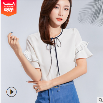 2019夏季新品韩版气质蝴蝶结绑带荷叶边遮肉短袖雪纺衫一件代发