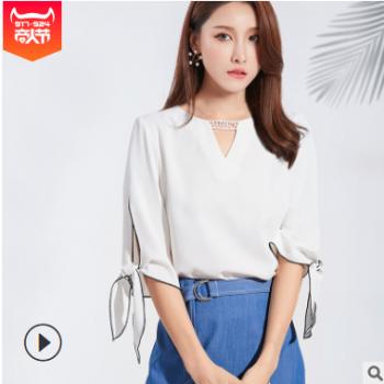 韩版2019夏装新款女装圆领开叉七分袖白色时尚雪纺上衣一件代发