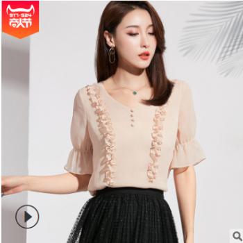 2019夏季新款韩版女装V领奶油花边荷叶袖小衫气质短袖雪纺衫女