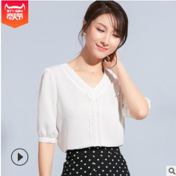 2019女装夏季新款性感V领花边拼接五分袖雪纺衫短袖上衣一件代发
