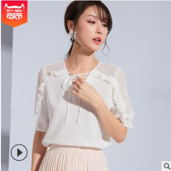 创意绑带设计清凉五分袖上衣2019夏装新款网纱木耳边短袖雪纺衫