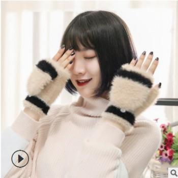 2018女款冬季翻盖保暖手套加绒加厚两用可爱纯色外出露指手套批发
