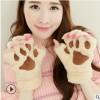 卡通猫爪手套男女冬季韩版可爱女生露指加厚保暖熊掌毛绒半指手套
