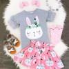 外贸童装 新款儿童套装女童灰色小兔子短袖T恤+兔子短裙两件套装