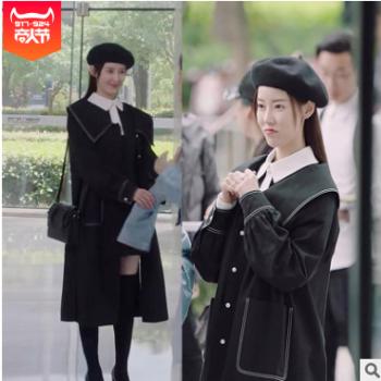 亲爱的热爱的蓝莓杨紫同款黑色风衣外套女中长款大衣2019春秋新款