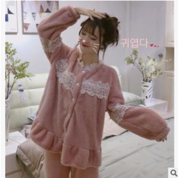 实拍实价新款韩版甜美蕾丝花边珊瑚绒加厚睡衣家居服套装