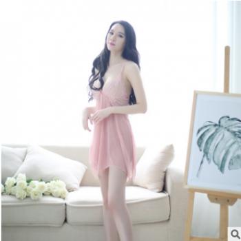 春秋性感睡衣女连衣裙内衣大码夏季薄款透明蕾丝网纱吊带睡裙+T裤