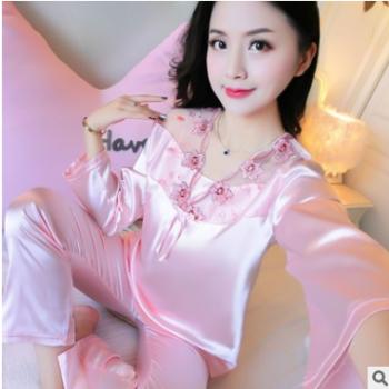 2019丝绸睡衣女薄款长袖夏季蕾丝性感可爱家居服