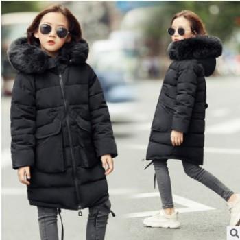 女童棉服2018新款冬装7女孩中长款棉袄洋气外套8中大童大毛领棉衣