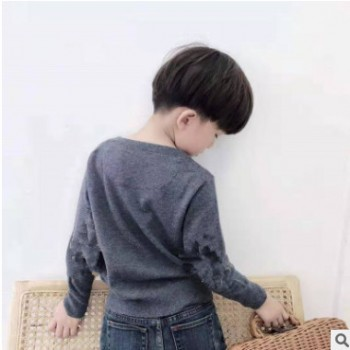 儿童毛衣2019秋冬新款高端定制童装男女童套头打底百搭纯色羊毛衫