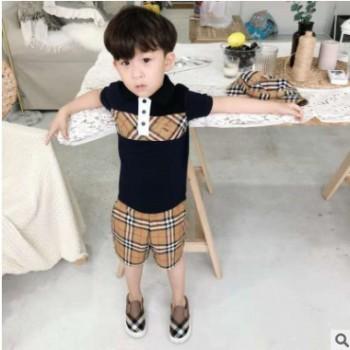 一件代发童装短袖T恤2019新款高定童装纯棉欧美潮牌童装短袖Polo