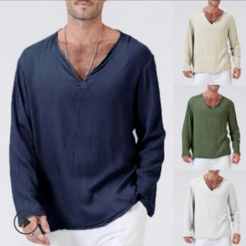 跨境男装欧美青年流行个性修身套头纯色长袖棉麻春秋款polo衫 男