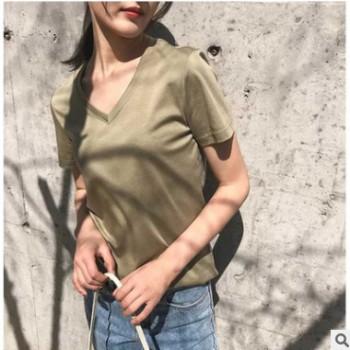 淘工厂女装短袖V领T恤2019夏装新款80支双面丝光棉针织衫定制