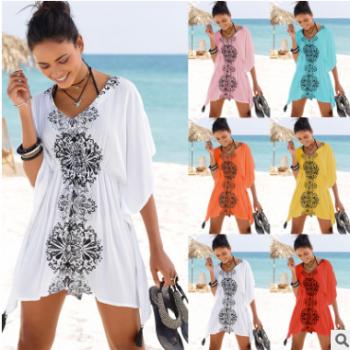 亚马逊wish欧美跨境爆款女装新款印花罩衫沙滩大摆裙比基尼泳衣
