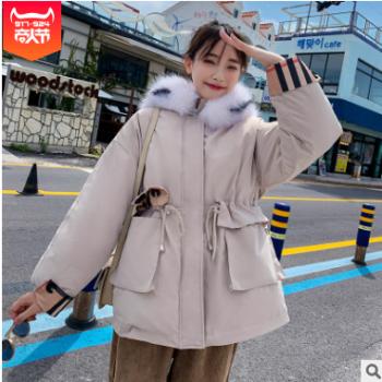 实拍2019新款羽绒服女韩版时尚拼色休闲短款港风学生棉服外套女潮