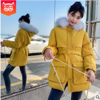 韩版女装2019冬季新款韩国东大门中长款收腰系腰带羽绒棉服棉衣女