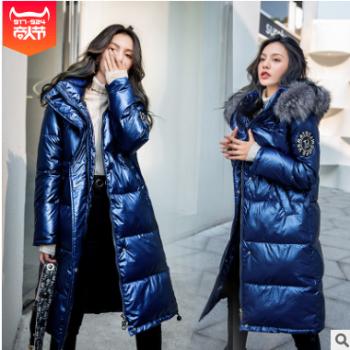 欧洲站2019冬季新款羽绒棉服女长款过膝亮面时尚宽松大毛领棉服女