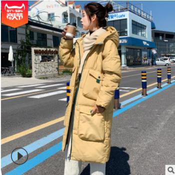 2019韩版羽绒棉服女简约新款宽松面包服连帽加厚过膝bf风学生棉衣