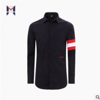 男装衬衫 2019新品全棉高支免烫面料 袖子撞色 时尚潮牌衬衫