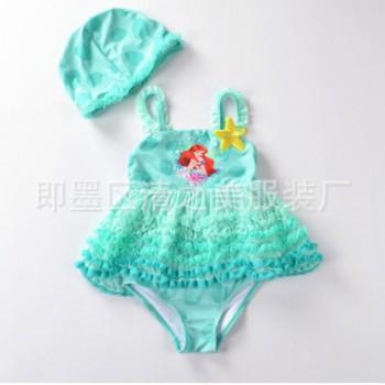 新款绿色蕾丝小人鱼大摆连帽女童泳衣泳装